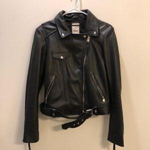 Genuine Leather Biker Jacket Zara